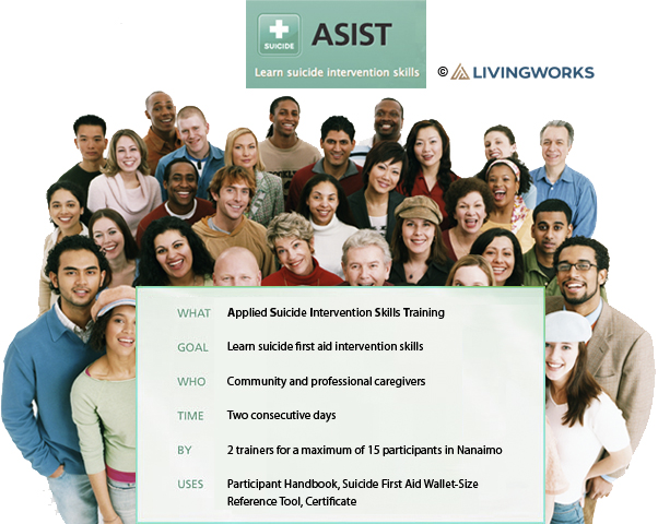 ASIST (Applied Suicide Intervention Skills Training) is faciliated by Vancouver Island Crisis Society